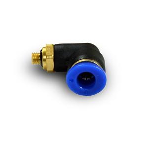 Złączka wtykowa kątowa wąż 4mm gwint M5 cala PL04-M05