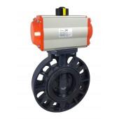 Zawór przepustnica DN80 UPVC z napędem pneumatycznym AT75 motylkowy