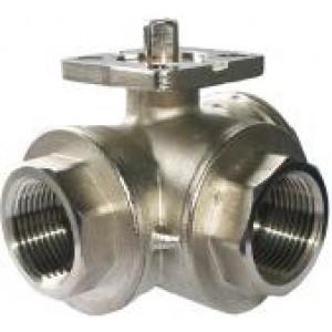 Zawór kulowy 1 cal 3 drogowy DN25 pełny przepływ mosiężny przemysłowy pod siłownik ISO5211