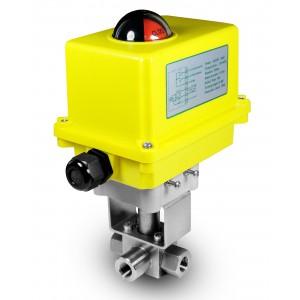 Elektrozawór kulowy 3 drogowy 500bar 1/2 cala ss304 siłownik A250