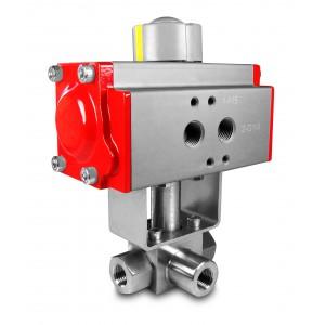Zawór kulowy 3 drogowy wysokociśnien. napęd 1/4 cala HB23 ss304 ISO5211 AT52
