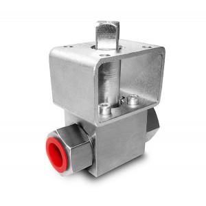 Zawór kulowy wysokociśnien. 1/4 cala ss304 HB22 ISO5211 pod siłownik