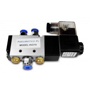 Elektrozawór siłowników 5/2 4V210 1/4 + złączki 8mm